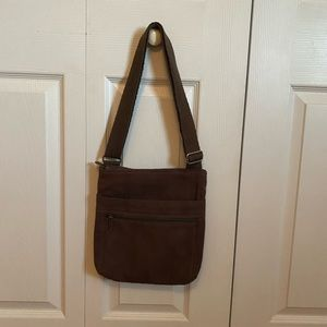 Thirty One Brown Canvas Crossbody Purse